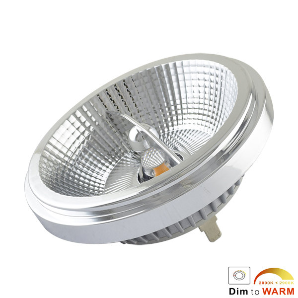 Dimmable Spotlight AR111 G53 12W CRI82 3000K 24D Dim To Warm