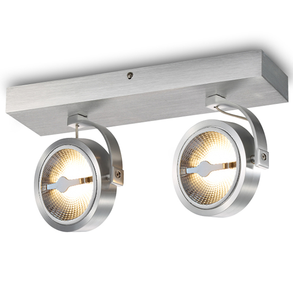 AR111 Surface Mounted Fixture With Square Base Plate For Two Bulbs