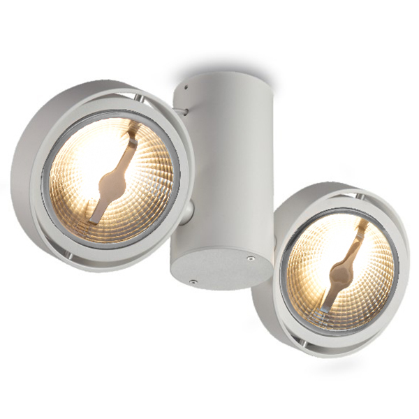 Aluminum AR111 Ceiling Surface Mounted Fixture For Two Bulb